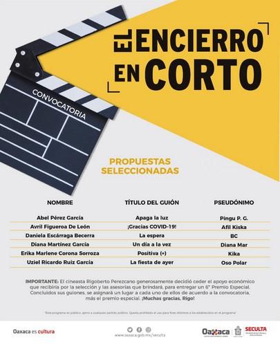 · Se entregará un sexto premio especial donado por el cineasta Rigoberto Perezcano