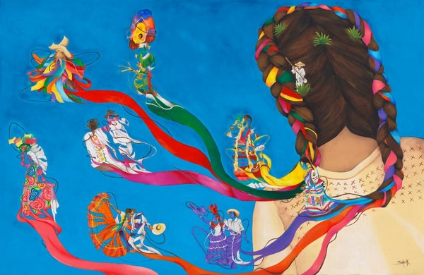 "La obra de la artista oaxaqueña Montserrat Alhelí Steck Ortiz, ""Trenzando Magia"""