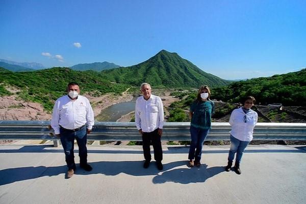 inauguración de la presa Bicentenario Los Pilares en el municipio de Álamos, Sonora.