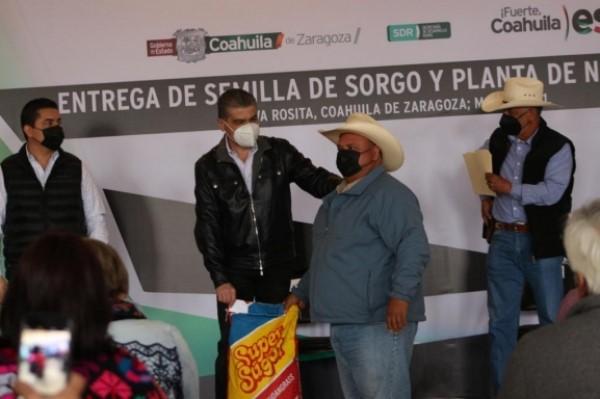 entregó semilla de sorgo forrajero y mil 500 plantas de nogal para productores rurales de la Región Carbonífera.