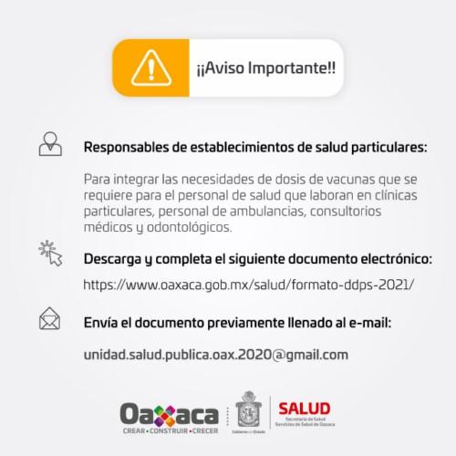 · Los interesados deberán acceder a la página https://www.oaxaca.gob.mx/salud/formato-ddps-2021/