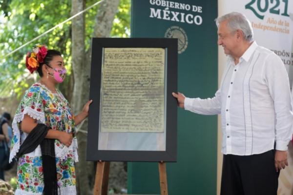 petición de perdón por agravios al pueblo maya en Felipe Carrillo Puerto, Quintana Roo.