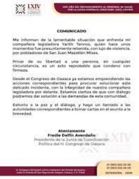 reiteraron el llamado al diálogo, la paz y la concordia para que la legisladora sea liberada.